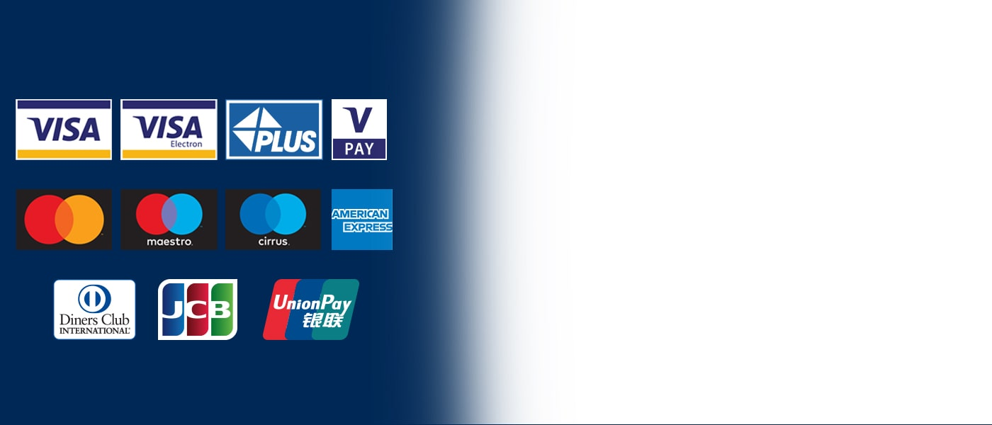 Euronet accepteert alle bankkaarten en bekende creditcards